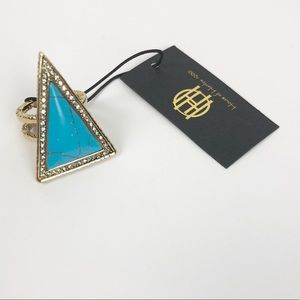 House of Harlow 1960 Jewelry - House Of Harlow Turquoise Triangle Theorem Ring
